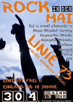 Am 30. April lautet in der Linie 73 das Motto: Rock in den Mai. Plakat: Valentin